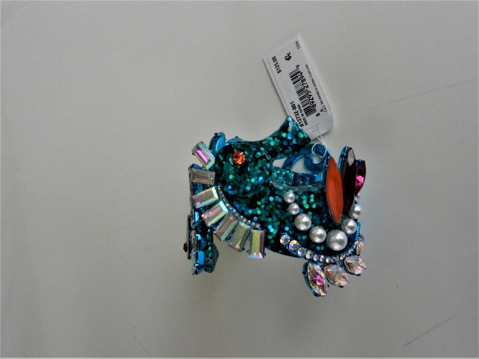 Betsey Johnson bluee Tone Crystal Seahorse Hinged Bracelet MSRP  125