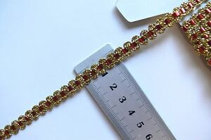 Metallic-Braid-GOLD-with-RED-Threaded-6mm-wide-2-Metre-Lengths-003209-Birch