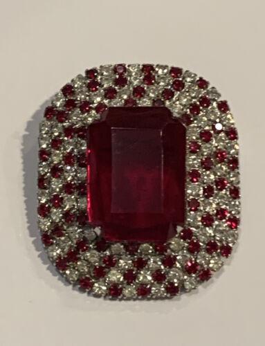 clear round cut rhinestones Vintage Rhinestone Bar Pin silver tone base metal red emerald cut rhinestone 2 long 9 mm x 8 mm center