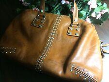 Preowned Michael Kors Astor Studded Luggage Satchel Handbag Silver Toned Hardwar