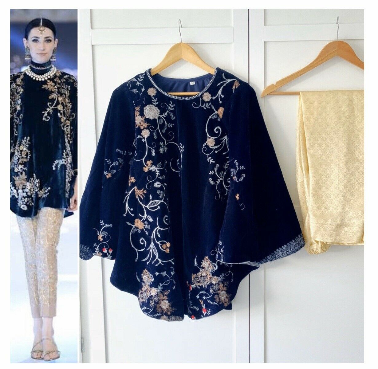 XL Navy velvet embroidered Cape Trousers 2pc Suit