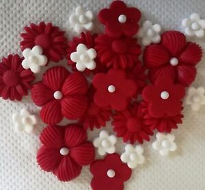Image Is Loading RED WHITE FLOWERS Edible Sugar Cake Topper Cupcakes