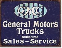 General Motors Trucks Authorized Sales & Service Tin Sign Measures 12.5 X 16.