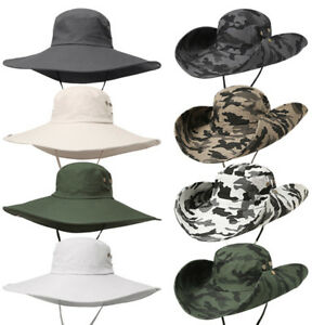 bd9aea29f23 Men Quick Dry Wide Brim Bucket Hat Summer Outdoor Sun Protection Hat ...