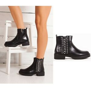 Block Size Ladies Shoes Womens Heel Black Sole Boots Biker Chunky Ankle Chelsea pYpTwaxF