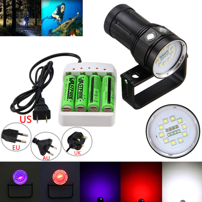 LED Diving Flashlight 20000LM 10x XM-L2+4xRed+4xPurple Photography Video Torch