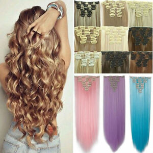 100% Similiar To Natural Clip in Hair Extensions 8 Pieces Full Head Long Women L