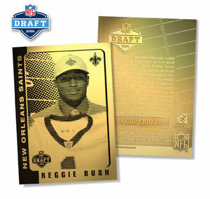 2006-Football-Saints-REGGIE-BUSH-Draft-Pick-NFL-23K-GOLD-Card-1000-ONLY