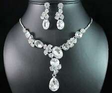 SHINY FLORAL CLEAR AUSTRIAN RHINESTONE CRYSTAL NECKLACE EARRINGS SET PARTY N1752