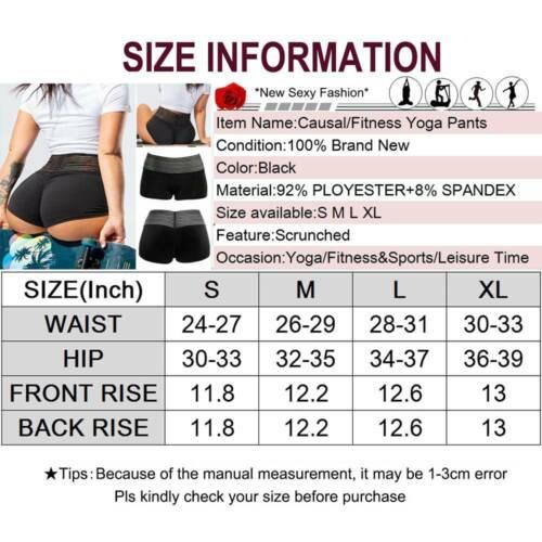 Womens High Waist Yoga Shorts Gym Sports Fitness Booty Push Up Ladies Hot Pants