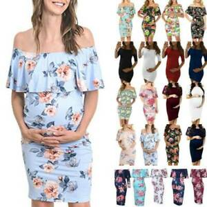 Pregnant-Maternity-Women-039-s-Off-Shoulder-Floral-Dress-Evening-Party-Photography