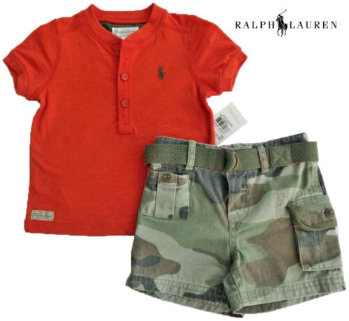 MSRP$55.00 NEW Size 3 Months NWT RALPH LAUREN Boys Orange Camouflage Shorts Set
