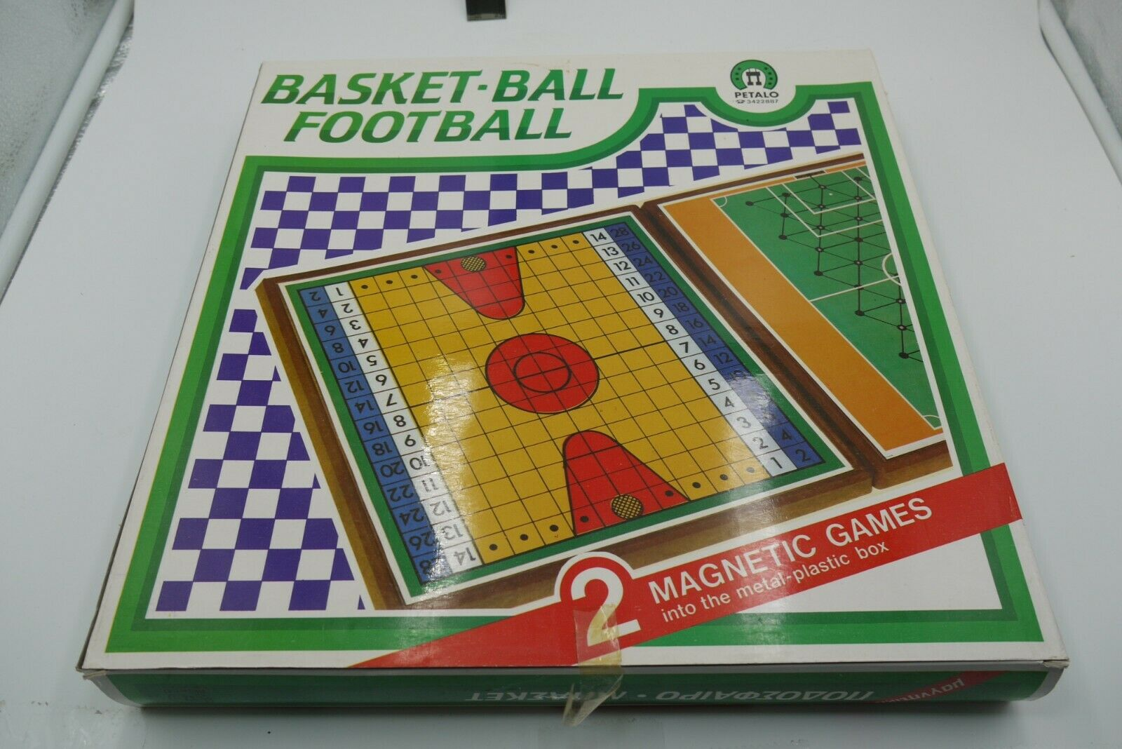 VINTAGE 80's MAGNETIC GREEK BOARD GAME BASKETBALL FOOTBALL PETALO LARGE SIZE