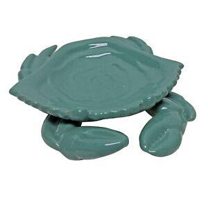 Ceramic Crab Dish Turquoise Trinket Tray Soap Holder Sea Life Accent Decor beach