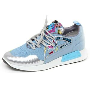 info for 1283e d2a93 Details about F4394 sneaker donna tissue/leather BARRACUDA scarpe light  blue shoe woman