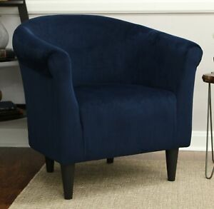 Details about Navy Blue Microfiber Accent Barrel Chair Home Living Room  Dorm Seating Furniture