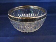 Leonard Crystal Italy Nut Bowl with Silver Plate Rim Starburst pattern
