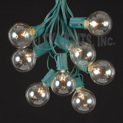 Set of 25 G50 Clear Bulbs 25 Foot G50 Outdoor Patio Globe String Lights