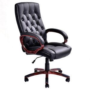 Ergonomic Tufted High Back Computer Desk Task Swivel Office Chair Black