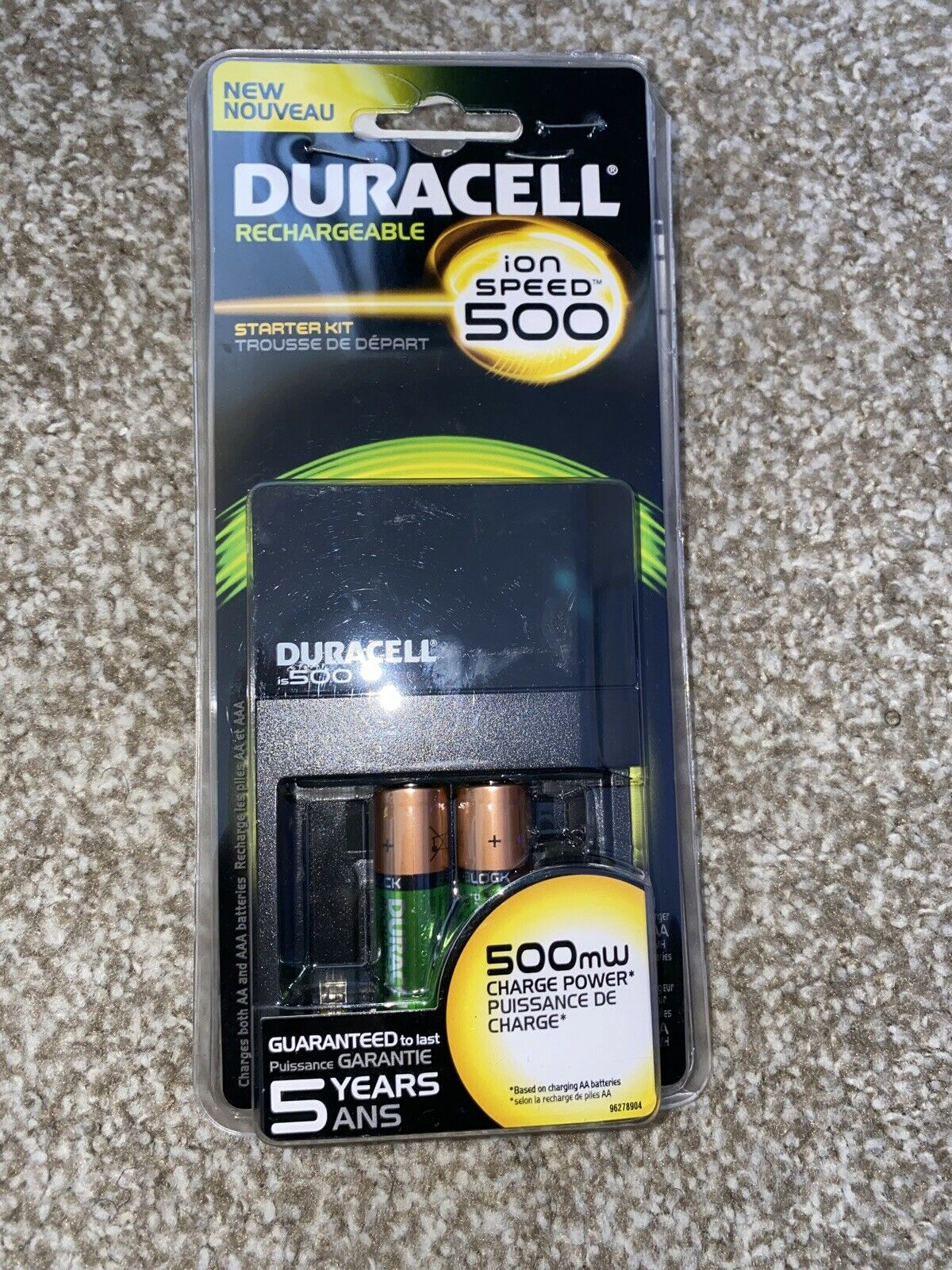 Duracell Ion Speed 500 Battery Charger w/2 AA Rechargeable Batteries