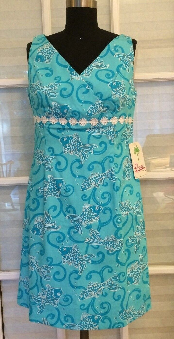 NWT Lilly Pulitzer Staci Dress Weiß Label Havana Blau MariGold Fish 6  MSRP