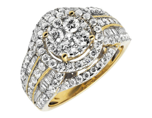 14K Yellow Gold Round Baguette XL Cluster Diamond Engagement Bridal Ring 2 ct