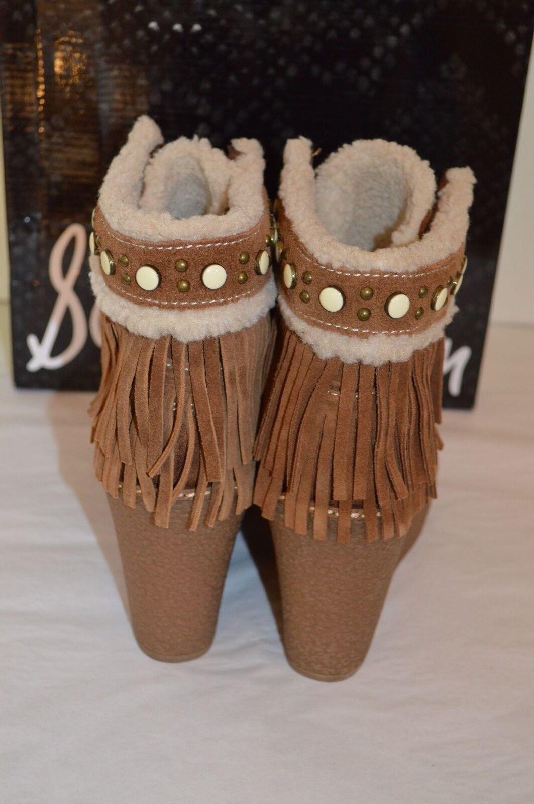 New Sam Edelman Kemper Mocha Mocha Mocha Brown Suede Fringe Wedge Platform Ankle Boots 7.5 8793fc