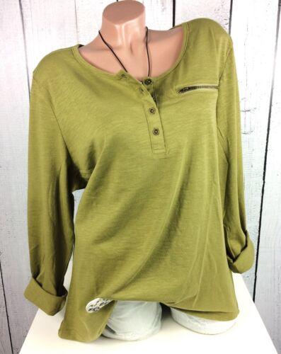 44 46 48 50 56 Basic Longshirt Shirt Longsleeve lässig oliv grün by Sheego Gr