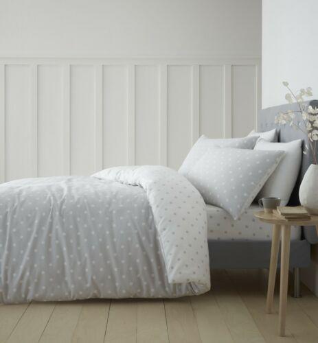 Catherine Lansfield Dotty Brushed Cotton Grey Duvet Bedding Set