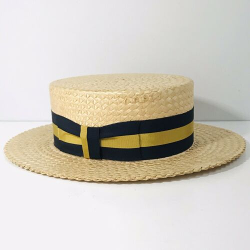 Vintage Mens BERGER of California STRAW HAT Boater