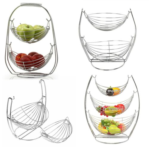 2 /& 3 Tier Chrome Swinging Fruit Vegetable Bowl Basket Rack Storage Stand Holder