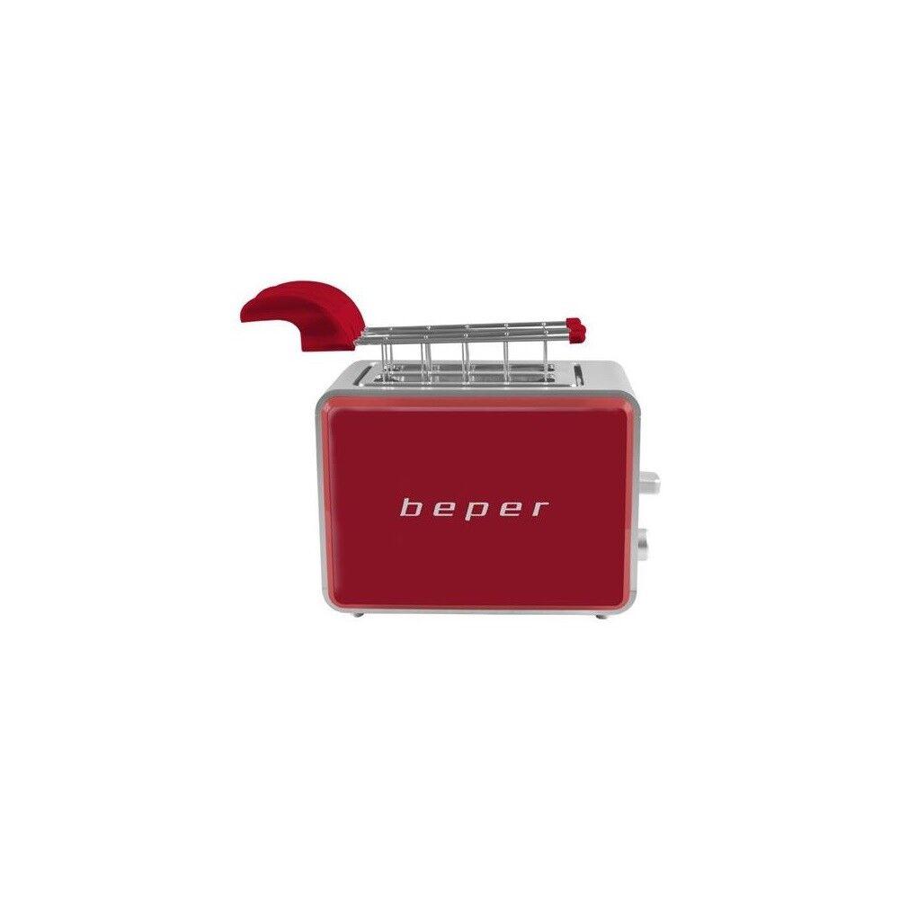 Tostapane rosso//silver 6 livelli di tostatura e pinze in acciaio toast beper