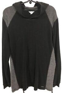 Calvin-Klein-textured-pullover-hoodie-sweater-black-gray-XL-slim-fit-chest-44-034