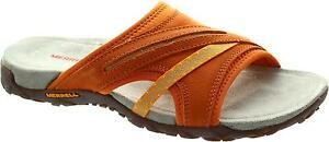 Merrell-Terran-Slide-II-Women-039-s-Orange-Open-Toe-Flat-Mule-Slider-Sandals-New