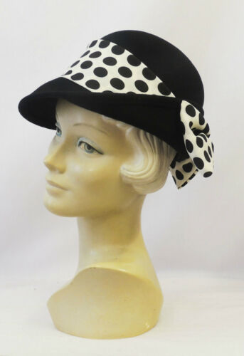 1940s Style Hats    New Retro Vintage 1940s 50s style Black Felt Fedora Hat with Polka dot Bow $33.42 AT vintagedancer.com