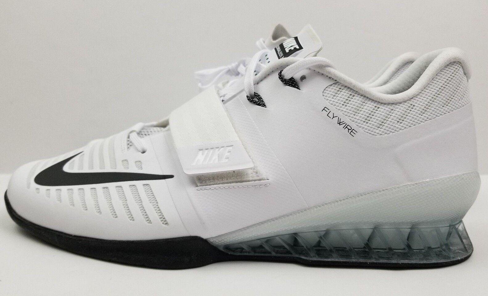 Nike Romaleos 3 Weightlifting Training Shoes White/Black 852933-100 Men's Sz 14