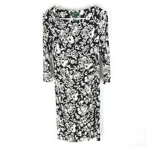RALPH-LAUREN-BODYCON-DRESS-SIZE-4-Black-Floral-Ruched-Side-Stretch-Womens
