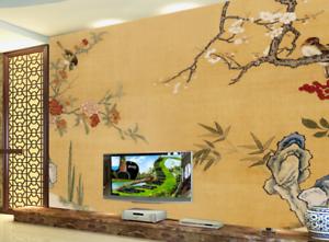 3D Peony Trees Birds 8 Wall Paper Murals Wall Print Wall Wallpaper Mural AU Kyra