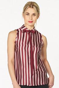 Mangano-camicia-Lizzie-blusa-senora-rojo-blanco-a-rayas-leger-sin-mangas-nuevo-109