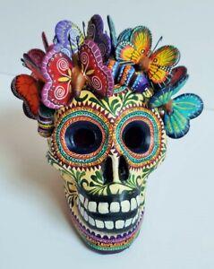 big-amazing-Alfonso-Castillo-day-of-the-dead-skull-butterflies-ceramic-folk-art