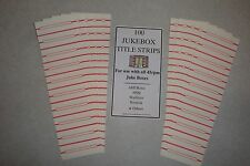 Jukebox Blank Title Strips, Jukebox Labels, 45rpm, 100 Strips, Original Style!