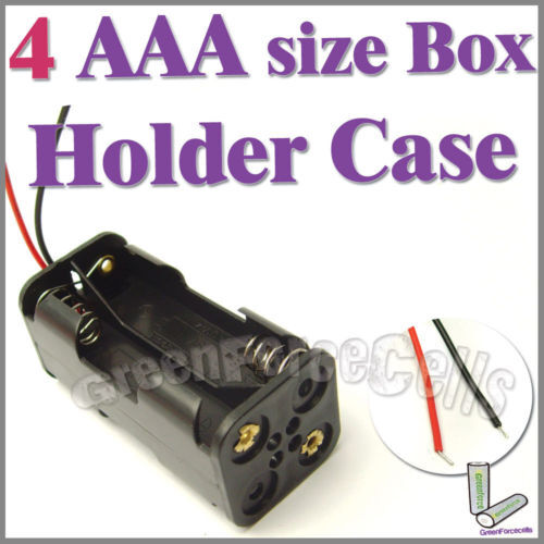 1 pc 4 AAA(2X2) Cells Battery (6V) Clip Storage Case Box Holder with Wire Leads