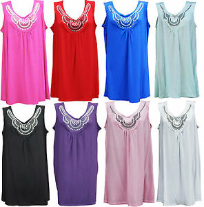 New-Womens-Ladies-Plus-Size-Sleeveless-Beaded-Stud-Long-Top-Vest-T-Shirts-14-28