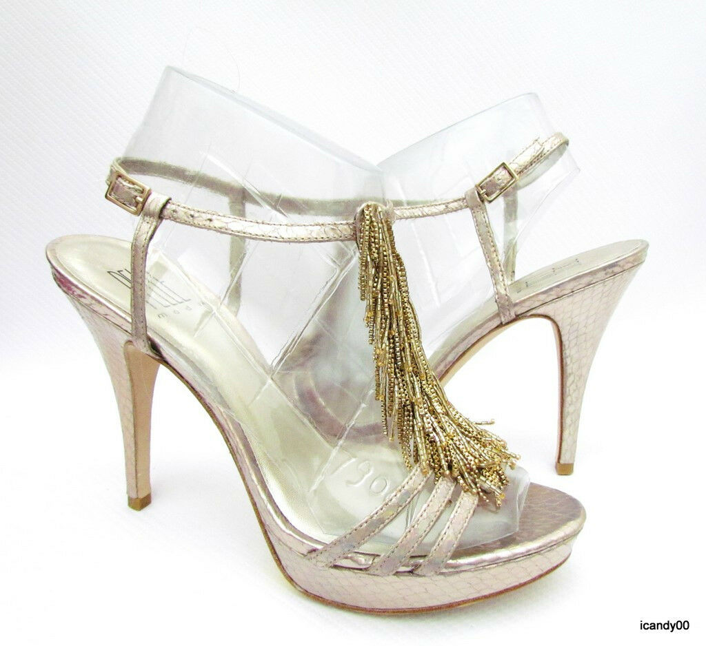 molto popolare  165 Pelle Moda VISE VISE VISE Platform Sandals Slingback Pump Heel Platinum oro 9.5  comprare a buon mercato