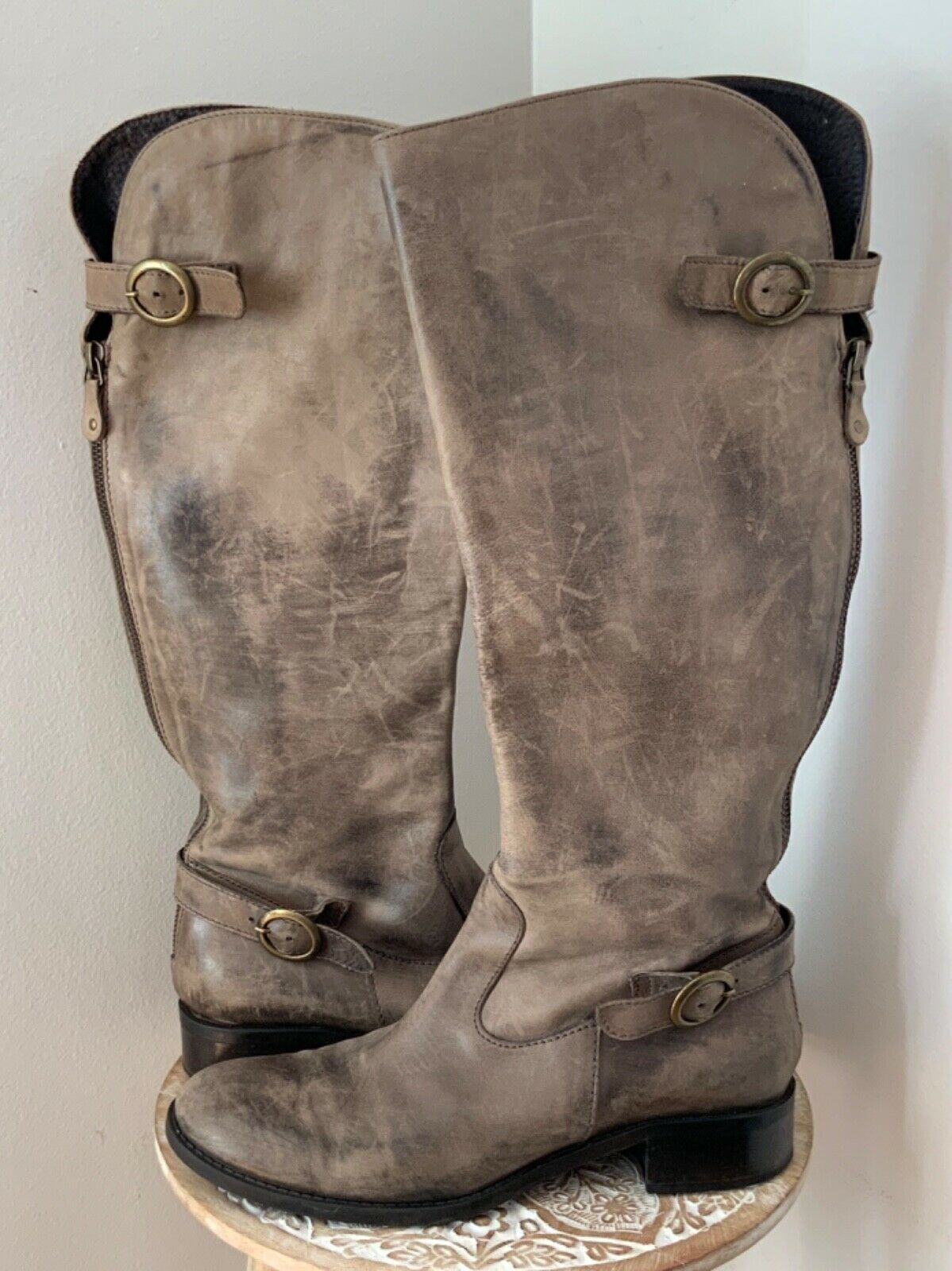 women PIU () Distressed Vintage Look Look Look Leather Brown Boots Size 39 4ecb8f