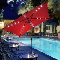Red Rectangular Led Lighted Patio Umbrella Outdoor Home Furniture Poolside Deck