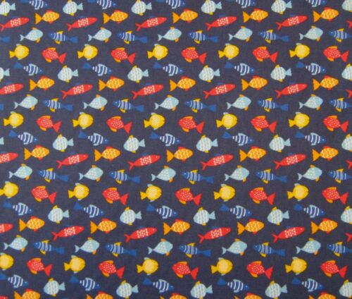 Premier Polycotton fabric-Fish-Navy.FREE Postage and Packaging.