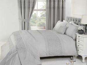 EMBROIDERED-FLORAL-PLEATS-SILVER-COTTON-BLEND-SUPER-KING-DUVET-COVER