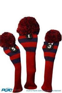 Tour-1-3-5-Driver-Fairway-Wood-Red-amp-Blue-Golf-Headcover-Knit-Pom-Pom-Cover
