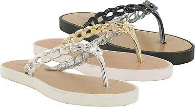 Mujeres SEÑORAS Verano Flip Flop Sandalias Planas De La Post Playa Casual Zapatos Tamaños Reino Unido